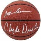 Hakeem Olajuwon & Clyde Drexler Rockets Signed Autographed Spalding NBA Basketball SCHWARTZ