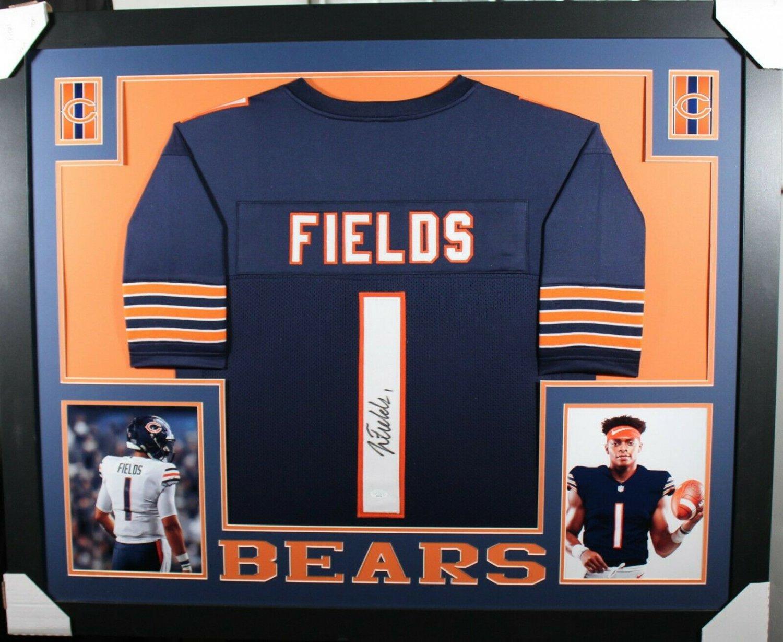 Justin Fields Autographed Signed Framed Chicago Bears Jersey JSA