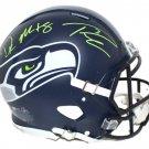 Russell Wilson & DK Metcalf Signed Autographed Seattle Seahawks FS Proline Helmet BECKETT
