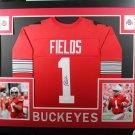 Justin Fields Autographed Signed Framed Ohio State Buckeyes Jersey JSA