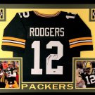 Aaron Rodgers Autographed Signed Framed Green Bay Packers Nike Jersey FANATICS