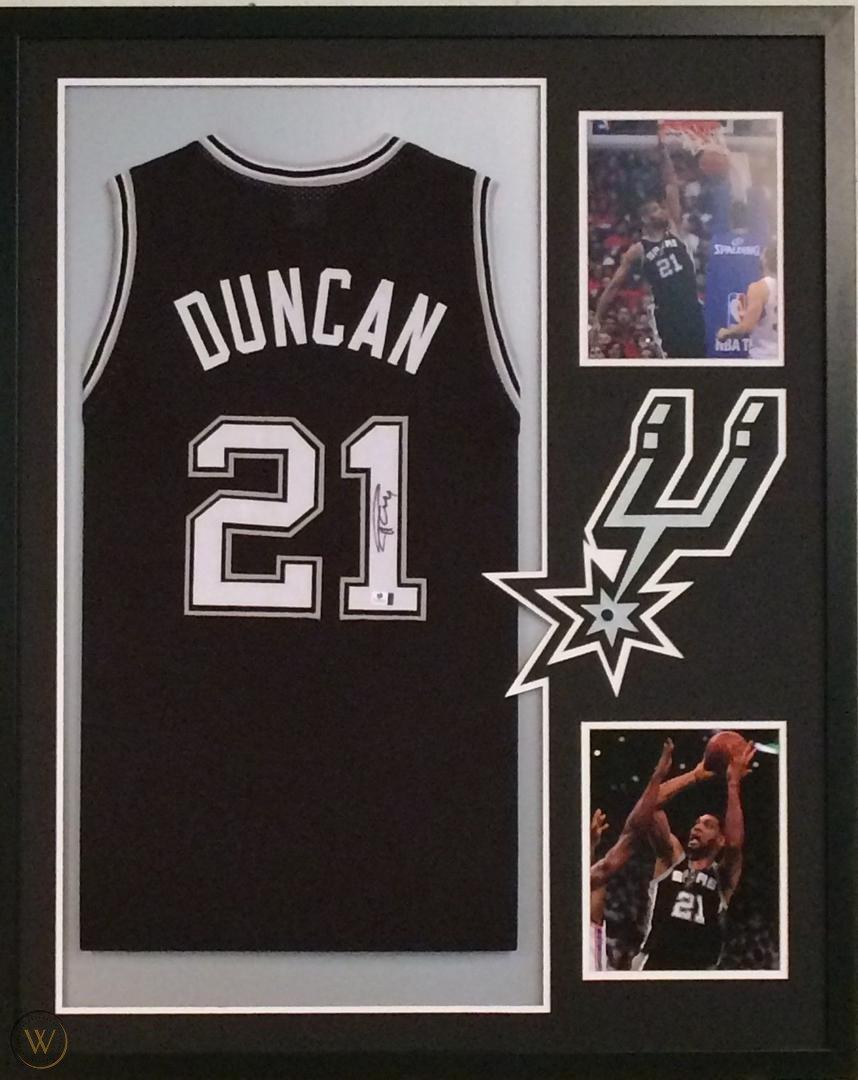 Tim Duncan Autographed Signed Framed San Antonio Spurs Jersey PSA