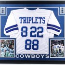 Aikman Smith Irvin Autographed Signed Framed Dallas Cowboys Triplets Jersey BECKETT