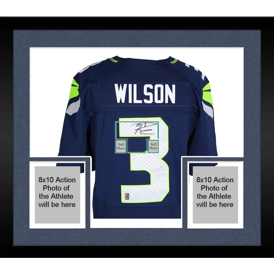 Russell Wilson Signed Autographed Framed Seattle Seahawks Nike Jersey RW COA