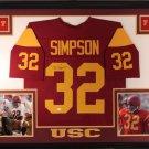 O.J. Simpson Autographed Signed Framed USC Trojans Jersey JSA