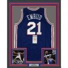 Joel Embiid Autographed Signed Framed Philadelphia 76ers Nike Jersey PSA