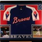 Hank Aaron Autographed Signed Framed Atlanta Braves Cooperstown TK Jersey PSA