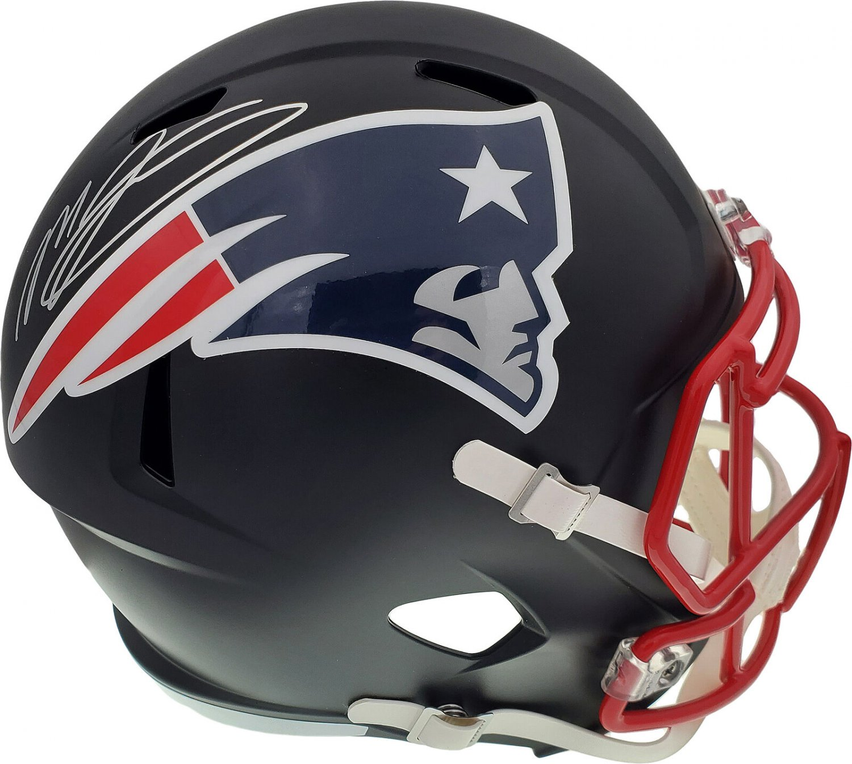 Mac Jones Autographed Signed New England Patriots FS Black Helmet BECKETT