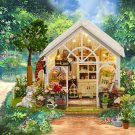 Wooden Greenhouse DIY Miniature Dollhouse LED Light Music Box