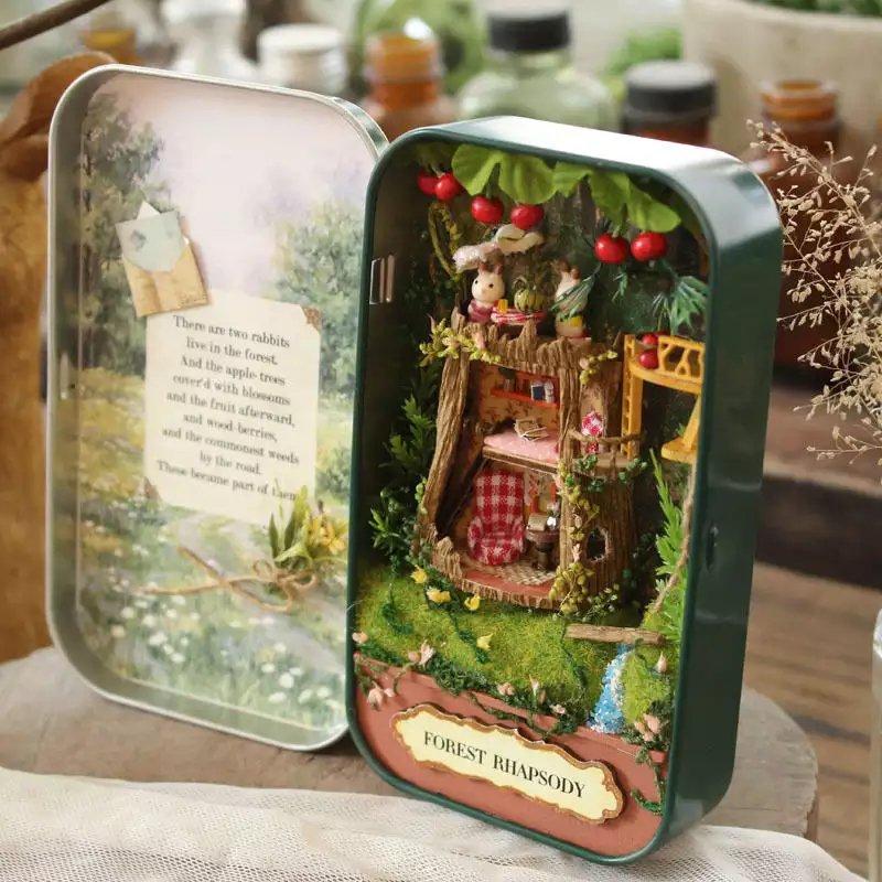 Vacation DIY Kit Miniature Dollhouse with LED Light