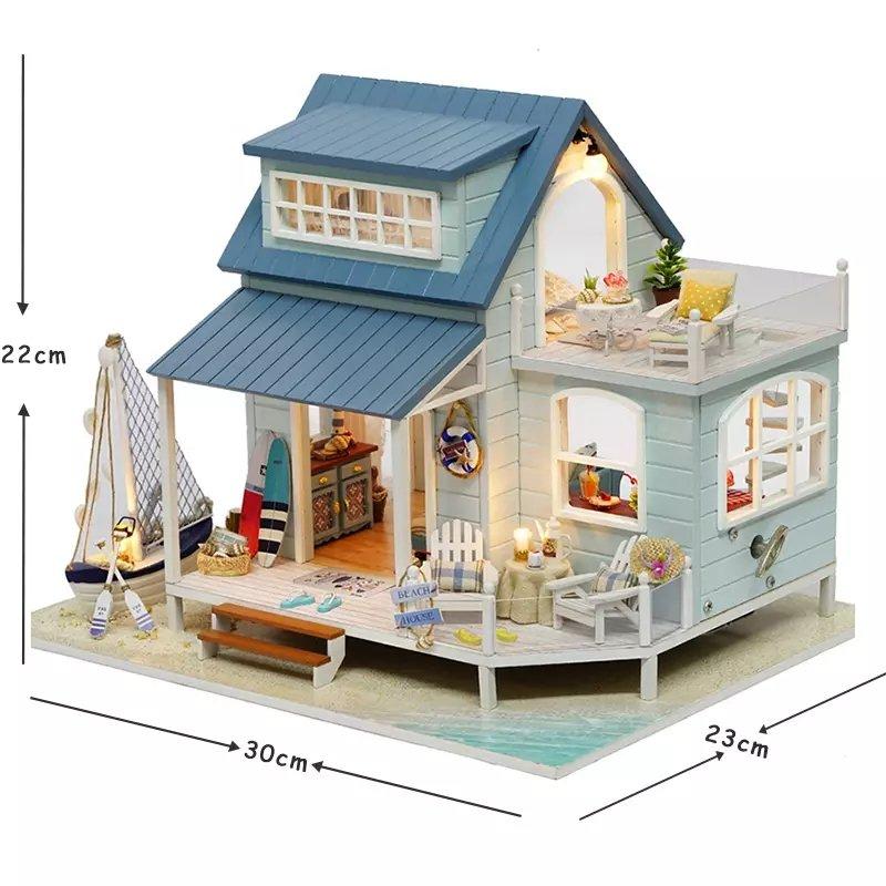 Beach House Wooden DIY Miniature Dollhouse with LED Light Music Box