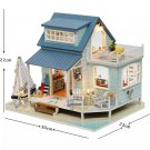 Beach House Wooden DIY Miniature Dollhouse with LED Light Music Box