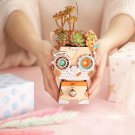 Puppy Robot Wooden Flower Pot DIY 3D Puzzle Model