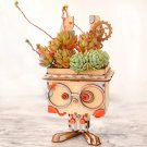 Rabbit Robot Wooden Flower Pot DIY 3D Puzzle Model
