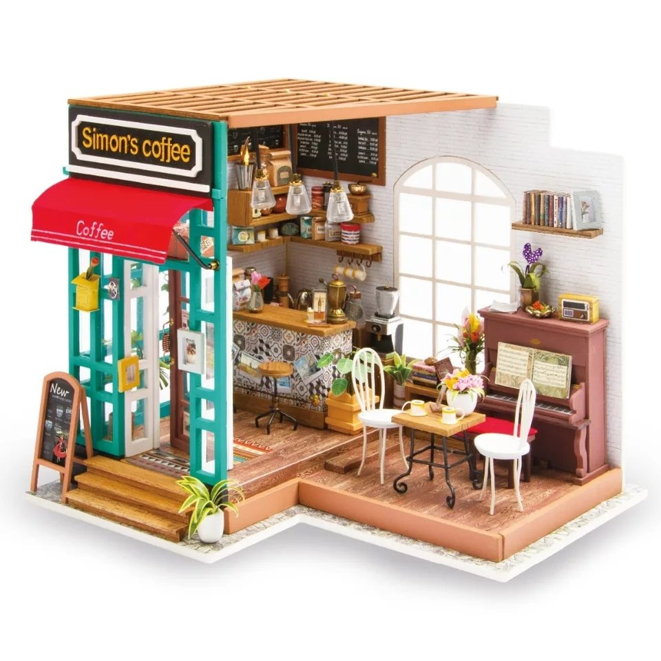 Simon's Coffee Shop DIY Miniature Dollhouse with LED Light