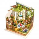 Garden Corner Wooden DIY Miniature Dollhouse with LED Light