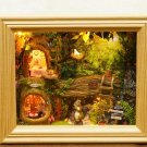 Woodland Enchanted Forest DIY Miniature Kit Wooden Frame with LED Light