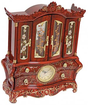Elegant Musical Jewelry Clock Box