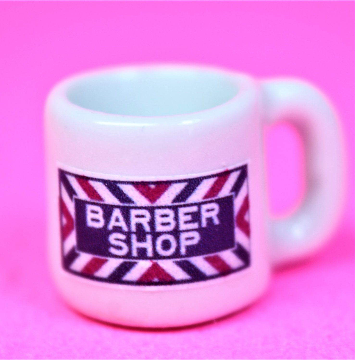 Dollhouse size replica of souvenir barber shop coffee mug