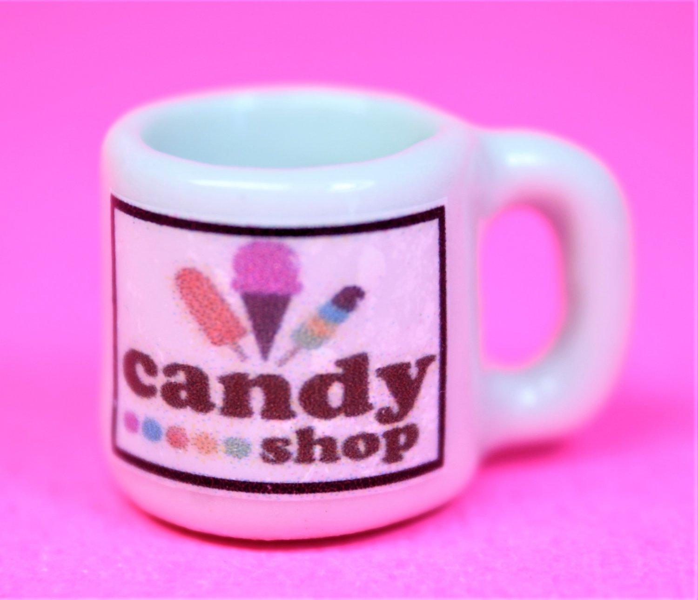 Dollhouse miniature size replica of a candy shop coffee mug