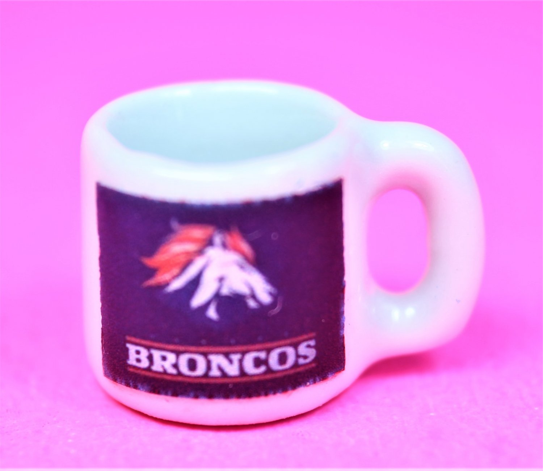"Dollhouse miniature,  size 1/12"" scale,  replica sports Broncos coffee mug"
