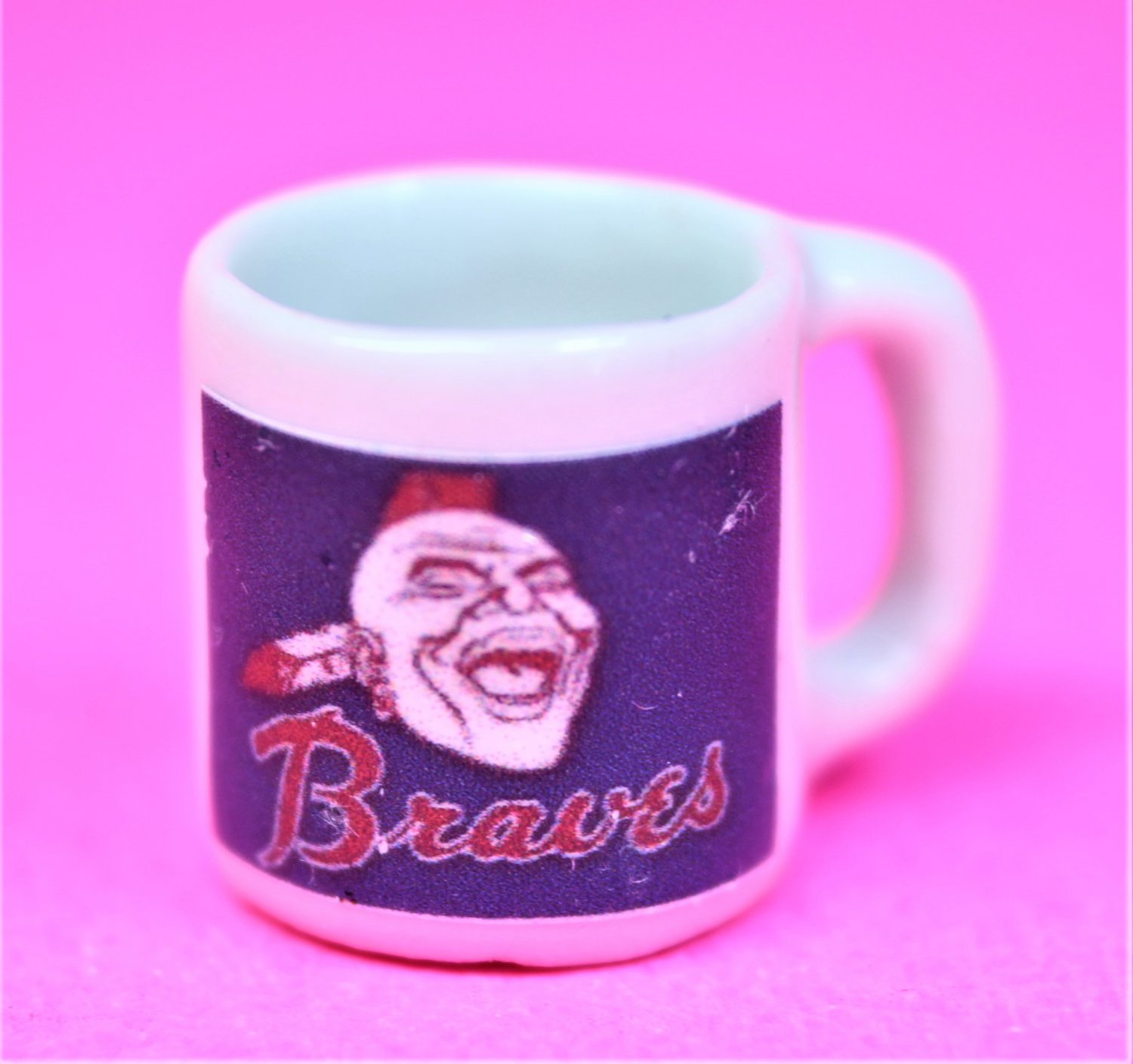 "Dollhouse miniature size 1/12"" scale replica Braves sports coffee mug"
