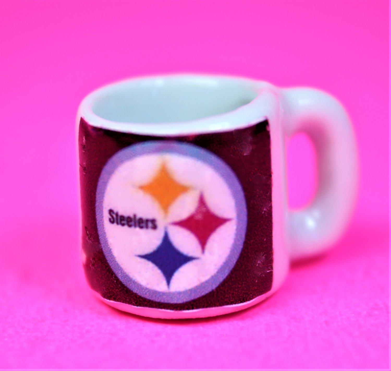 "Dollhouse miniature size 1/12"" scale replica Steelers sports coffee mug"