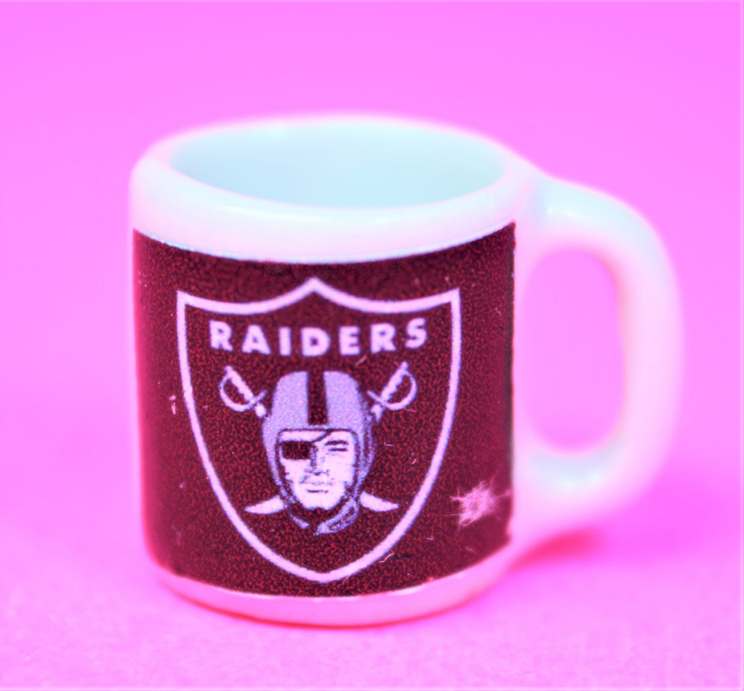 "Dollhouse miniature size 1/12"" scale replica Raiders sports coffee mug"