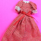 "Dollhouse Miniature Size Red Check Cotton Dress 1/12"" Scale XG98"