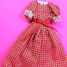 "Dollhouse Miniature Size Red Check Cotton Dress 1/12"" Scale XG98"