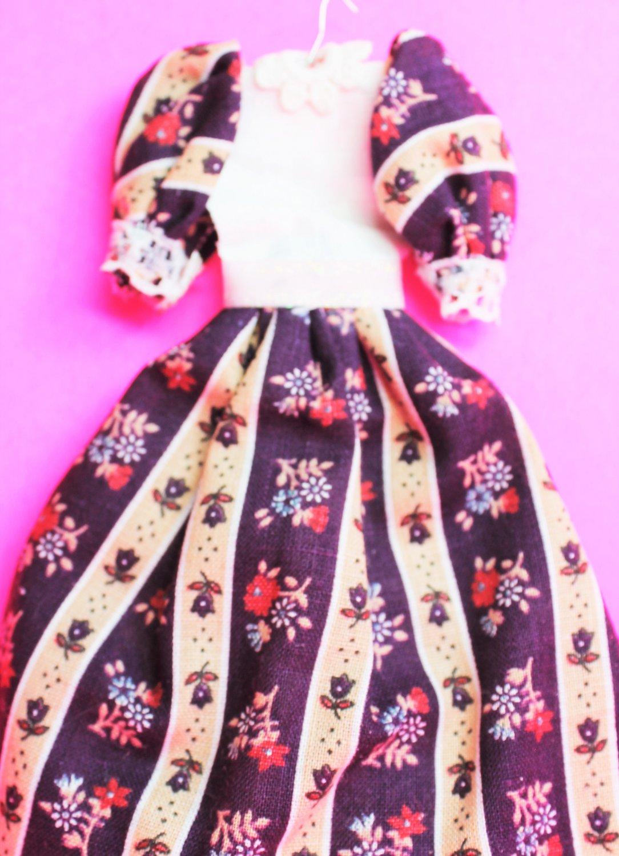 Dollhouse miniature handmade cotton doll's dress  XG101