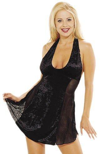 Velvet Halter Dress with Fishnet Side Panel Accents