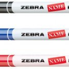 Zebra NAME PEN FINE MO-12A1-SNZ Black, Blue and Red Oil-based Markers (3pcs) - Assorted #10175