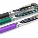 Pentel EnerGel BL77 Black, Green and Violet Liquid Gel Roller Pens (3pcs) - Assorted #9994
