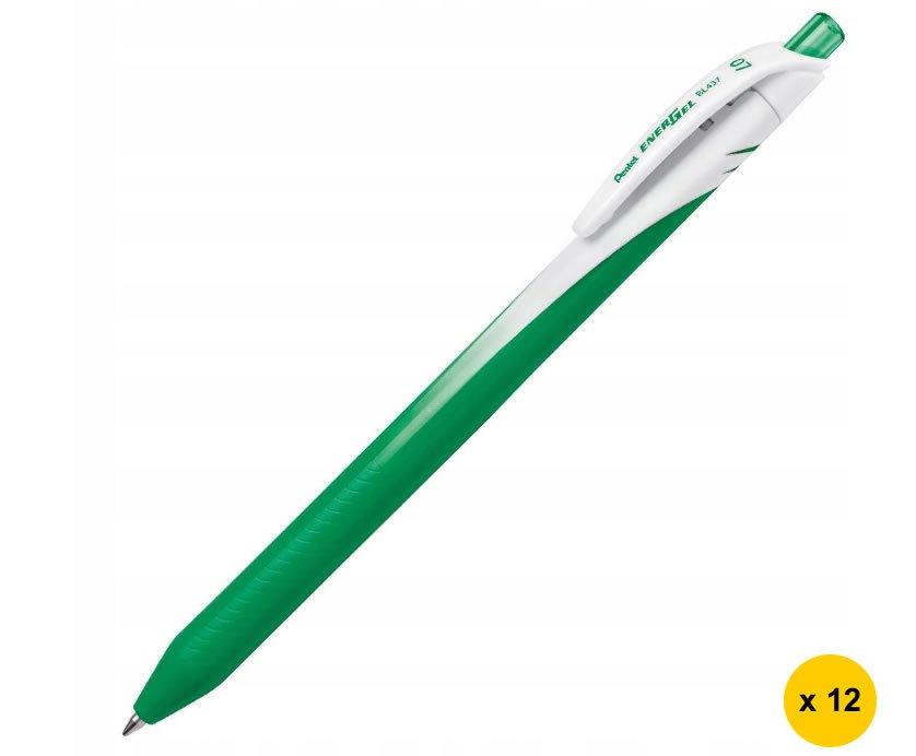 Pentel EnerGel BL437 0.7mm Retractable Liquid Gel Rollerball Pens (Pack of 12) - Green Ink #15231