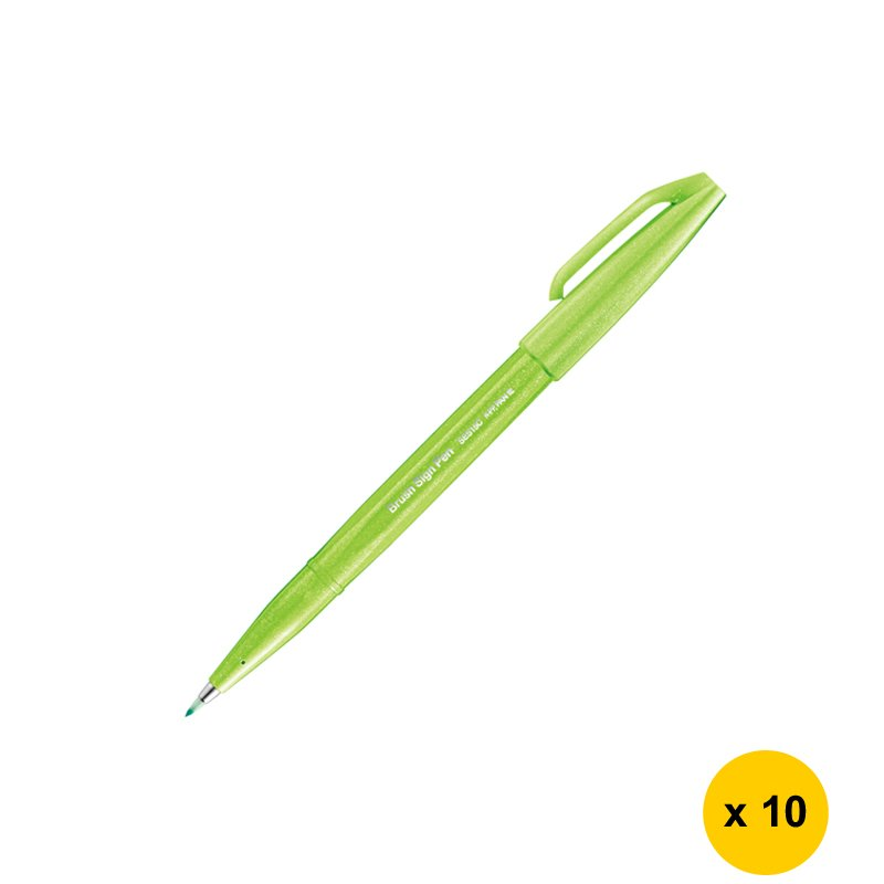 Pentel SES15C Caligraphy Brush Sign Pen (10pcs) - Light Green #15257