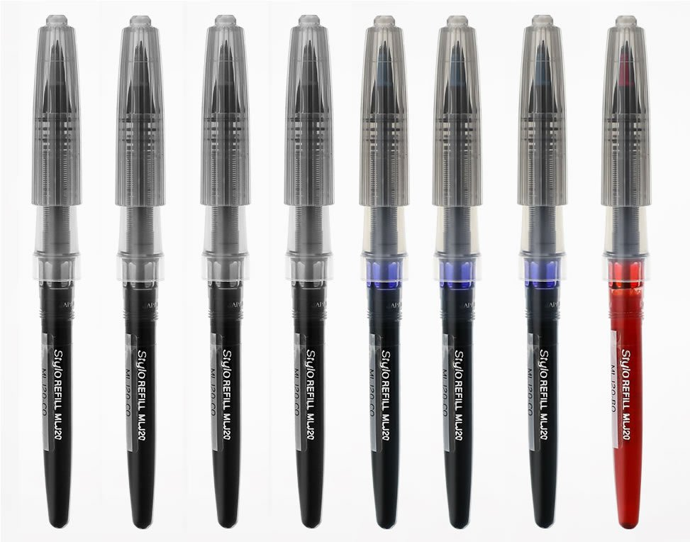 Pentel Stylo MLJ20 Black (4x), Blue (3x), Red (1x) Fountain Pen Refills (Pack of 8) - Assorted #1529