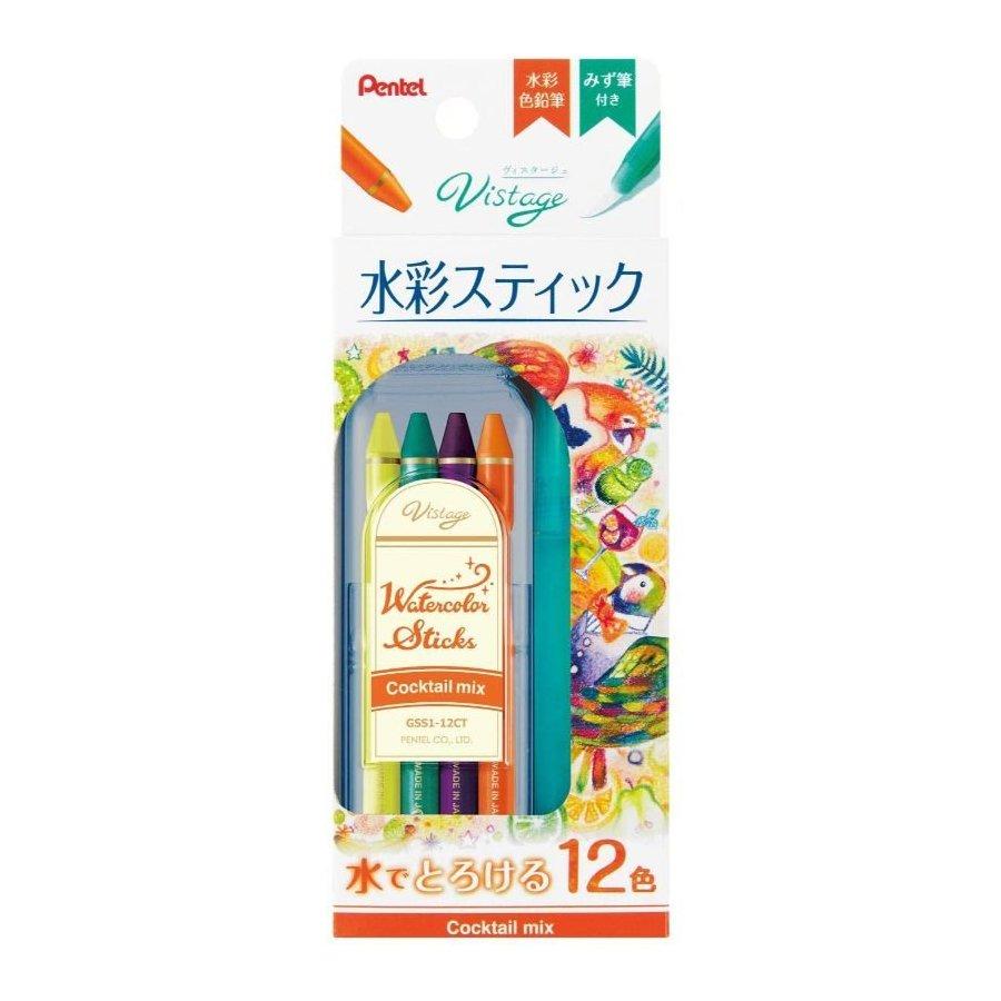 Pentel Vistage GSS1-12CT Watercolor Stick 12-Color Cocktail Mix Set - Assorted #15290