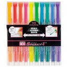 Zebra Sparky-1 WKP1-10C Fluorescent Markers (10 Colors) - Assorted #7116