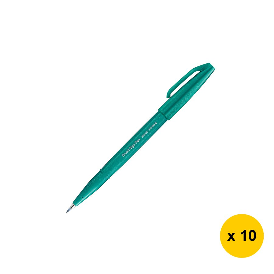 Pentel SES15C Calligraphy Brush Sign Pen (10pcs) - Turquoise Green #15255