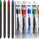 Pentel EnerGel R1 BL437R1 0.7mm Gel Pens (Pack of 6) + LR7 6-Assorted Color Refills - Assorted #158