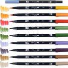 Tombow ABT Dual Brush Pens (Brush Tip + 0.8mm Fine Tip) 10-Color Set - Secondary #16311