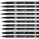 Tombow ABT Dual Brush Pens (Brush Tip + 0.8mm Fine Tip) 10-Color Set - Portrait #16312