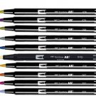 Tombow ABT Dual Brush Pens (Brush Tip + 0.8mm Fine Tip) 10-Color Set - Muted #16314