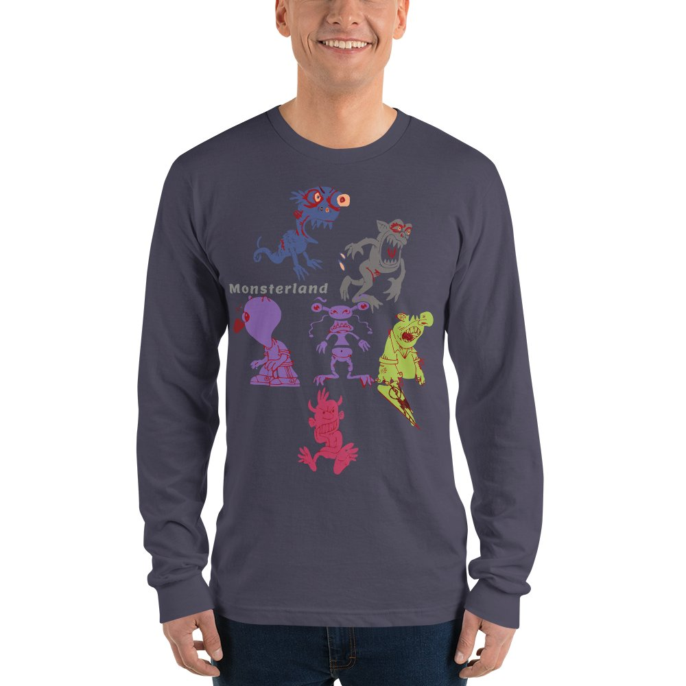 Unisex Long Sleeve T-shirt with Funny Monsters MADE IN USA