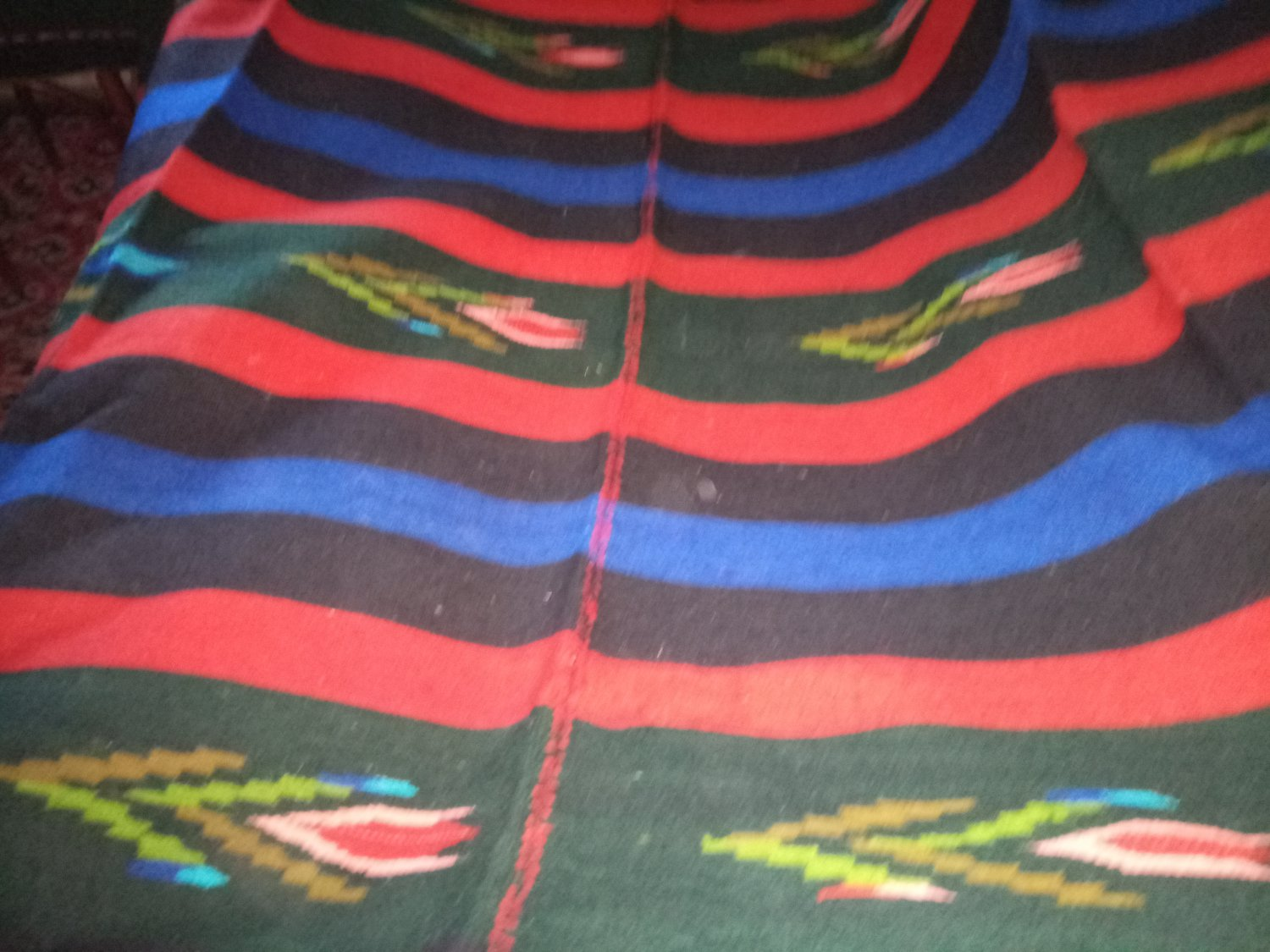 Rug Handwoven 100% Wool with motives blue red stripes