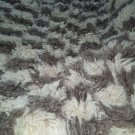 Rug Orient Handwoven 100%Wool with fluffy long fringes with black and white squares