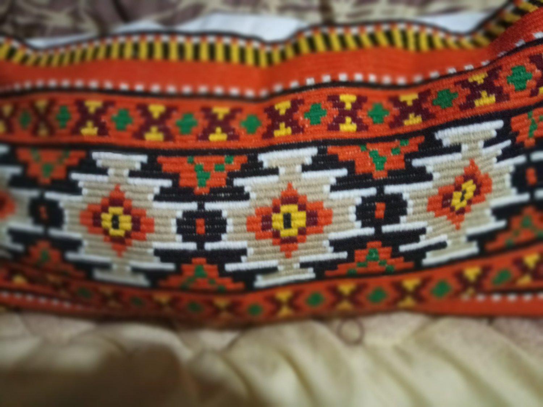 Hand-embroidered pillows Orange Autumn Antique