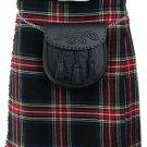 Highland Traditional Tartan Kilt Waist 48 Size Active Men Black Stewart 5 Yard Scottish Kilt Skirt