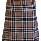 Traditional 5 Yard Scottish Kilt Waist 60 Size Highland Camel Thompson Tartan Kilt Custom Size Skirt